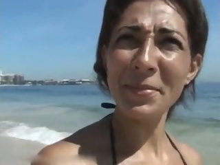 Screwing hard brazilian MILF I picked kick into touch the beach